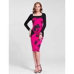 Cocktail Party Dress Multi Color Plus Sizes Sheath Column Square Knee Length Cotton