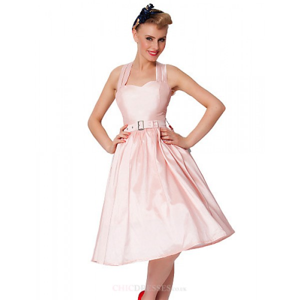 Cocktail Party Dress - Blushing Pink Plus Sizes A-line Sweetheart Knee-length Taffeta Special Occasion Dresses