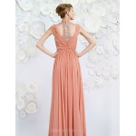 Formal Evening Dress - Watermelon A-line Queen Anne Floor-length Satin Special Occasion Dresses