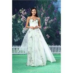 A Line Formal Evening Dress White Floor Length Sweetheart Organza Satin