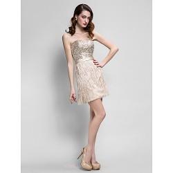 Cocktail Party Dress Champagne Plus Sizes Petite Sheath Column Sweetheart Short Mini Satin Sequined