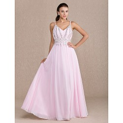 Dress Blushing Pink Plus Sizes Petite Sheath Column V Neck Floor Length Chiffon