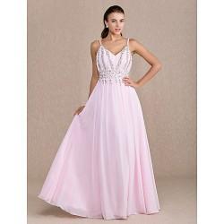 Dress - Blushing Pink Plus Sizes / Petite Sheath/Column V-neck Floor-length Chiffon