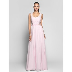 Formal Evening / Prom / Military Ball Dress - Blushing Pink Plus Sizes / Petite Sheath/Column Sweetheart / Straps Floor-lengthChiffon /