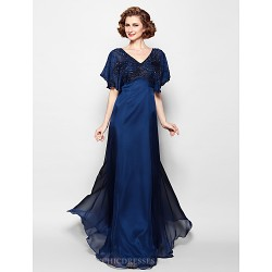 A Line Plus Sizes Petite Mother Of The Bride Dress Dark Navy Floor Length Short Sleeve Chiffon