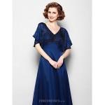 A-line Plus Sizes / Petite Mother of the Bride Dress - Dark Navy Floor-length Short Sleeve Chiffon Mother Of The Bride Dresses