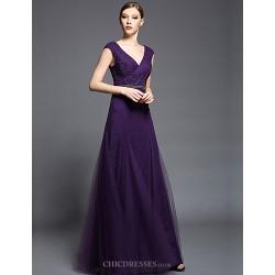 Formal Evening Dress - Lilac Sheath/Column V-neck Floor-length Chiffon / Tulle / Charmeuse