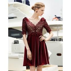 Cocktail Party Dress Burgundy Plus Sizes Sheath Column V Neck Short Mini Satin