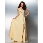 Prom / Formal Evening Dress - Daffodil Plus Sizes / Petite A-line V-neck Floor-length Chiffon Special Occasion Dresses