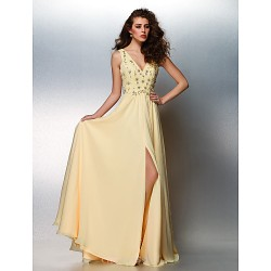 Prom / Formal Evening Dress - Daffodil Plus Sizes / Petite A-line V-neck Floor-length Chiffon