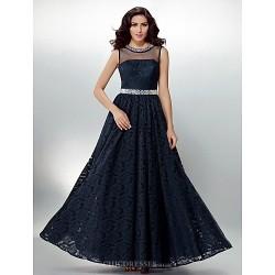 Formal Evening Dress Dark Navy Plus Sizes Petite A Line Jewel Floor Length Lace