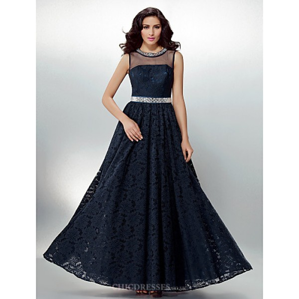 Formal Evening Dress - Dark Navy Plus Sizes / Petite A-line Jewel Floor-length Lace Special Occasion Dresses