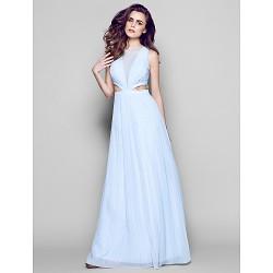 Formal Evening Dress - Sky Blue Plus Sizes / Petite Sheath/Column Jewel Floor-length Chiffon