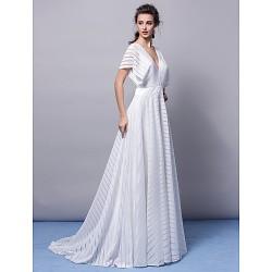 Formal Evening Dress - Ivory Plus Sizes / Petite A-line V-neck Sweep/Brush Train Jersey