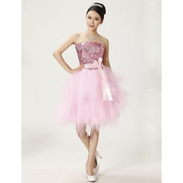 Cocktail Party Dress - White / Candy Pink Plus Sizes Ball Gown Strapless Knee-length Lace Celebrity Dresses