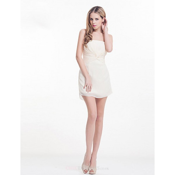 Dress - Ivory Sheath/Column Strapless Knee-length Satin Chiffon Special Occasion Dresses