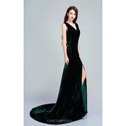 Formal Evening Dress Dark Green Trumpet Mermaid V Neck Sweep Brush Train Velvet