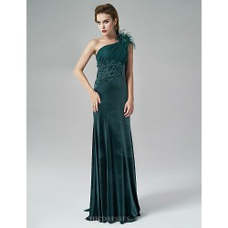 Formal Evening Dress - Burgundy/Dark Green A-line One Shoulder Sweep/Brush Train Satin