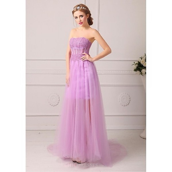 Formal Evening Dress - Lilac / Sky Blue / White / Blushing Pink / Black / Royal Blue Plus Sizes / Petite A-line Strapless Court Train Special Occasion Dresses