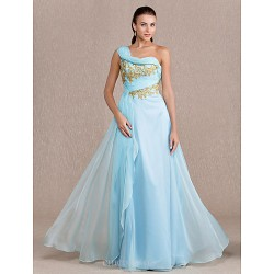 Formal Evening Prom Military Ball Dress Sky Blue Plus Sizes Petite Sheath Column One Shoulder Floor Length Chiffon