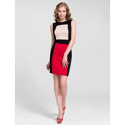Cocktail Party Dress - Multi-color Sheath/Column Jewel Knee-length Cotton