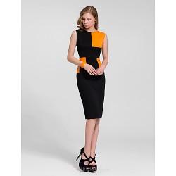 Cocktail Party Dress Multi Color Plus Sizes Sheath Column Bateau Knee Length Cotton