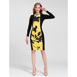 Cocktail Party Dress - Multi-color Plus Sizes Sheath/Column Jewel Knee-length Cotton