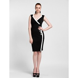 Cocktail Party Dress Black Sheath Column V Neck Knee Length Polyester