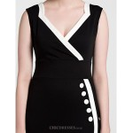 Cocktail Party Dress - Black Sheath/Column V-neck Knee-length Polyester Celebrity Dresses