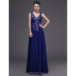 Dress Royal Blue Sheath Column V Neck Floor Length Chiffon