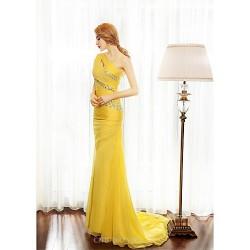 Formal Evening Dress Gold Sheath Column One Shoulder Sweep Brush Train Chiffon