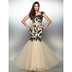 Formal Evening Dress - Multi-color Fit & Flare Sweetheart Floor-length Lace / Tulle