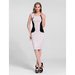 Cocktail Party Dress Multi Color Plus Sizes Sheath Column Straps Knee Length Cotton