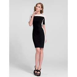 Cocktail Party Dress - Black Plus Sizes Sheath/Column Jewel Short/Mini Cotton