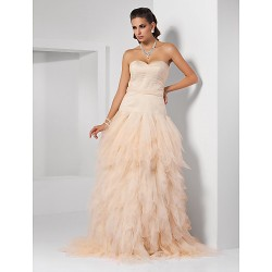 Prom Formal Evening Quinceanera Sweet 16 Dress Champagne Plus Sizes Petite Ball Gown Princess A Line Sweetheart Strapless