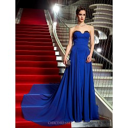 Formal Evening / Military Ball Dress - Royal Blue Plus Sizes / Petite A-line Strapless Sweep/Brush Train Georgette