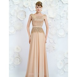 Formal Evening Dress Champagne A Line Jewel Floor Length Satin