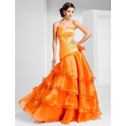 Prom Formal Evening Dress Orange Plus Sizes Petite A Line Princess Strapless Sweetheart Floor Length Organza