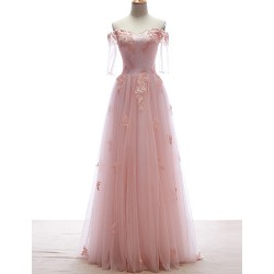 Formal Evening Dress - Candy Pink Petite A-line Off-the-shoulder Floor-length Lace / Tulle
