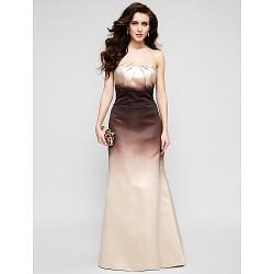 Formal Evening Dress Multi Color Trumpet Mermaid Strapless Floor Length Satin