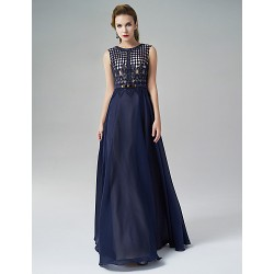 Formal Evening Dress Ink Blue A Line Jewel Floor Length Satin