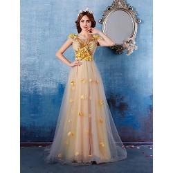 Formal Evening Dress - Gold A-line Jewel Chapel Train Satin