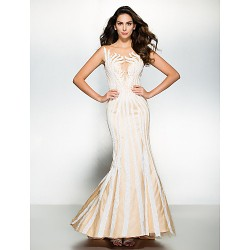 Formal Evening Dress - Ivory Trumpet/Mermaid Scoop Sweep/Brush Train Tulle