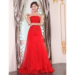 Formal Evening Dress Ruby Plus Sizes A Line Strapless Floor Length Tulle