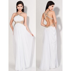 Formal Evening Dress - White Plus Sizes / Petite Sheath/Column High Neck Floor-length Chiffon