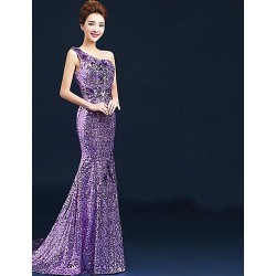 Formal Evening Dress Lilac Plus Sizes Ball Gown One Shoulder Floor Length Velet Chiffon