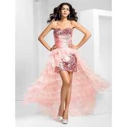 Prom Formal Evening Dress Pearl Pink Plus Sizes Petite A Line Strapless Asymmetrical Organza Sequined