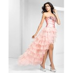Prom / Formal Evening Dress - Pearl Pink Plus Sizes / Petite A-line Strapless Asymmetrical Organza / Sequined Special Occasion Dresses