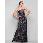 TS Couture Formal Evening / Military Ball Dress - Black Plus Sizes / Petite Trumpet/Mermaid Strapless Floor-length Sequined Special Occasion Dresses