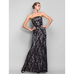Formal Evening / Military Ball Dress - Black Plus Sizes / Petite Trumpet/Mermaid Strapless Floor-length Sequined